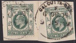 HONG KONG KEVII 2c X2 CALCUTTA CDS POSTMARK PIECE - Hong Kong (...-1997)