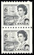 Canada (Scott No. 468B - Reine Elizabeth / Queen Elizabeth) [**] Roulette / Coil - Pair - 1952-.... Règne D'Elizabeth II