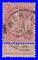 """COB N° 58 - Belle Oblitération """"WERVICQ"""" - 1893-1900 Schmaler Bart"""