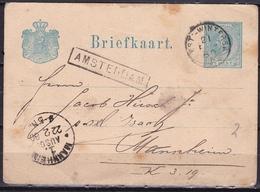 1880 Kleinrond Treinstempel AMST:-WINTERSW: En Haltestempel AMSTERDAM Op Briefkaart 5 Ct. NVPH 19 Naar Mannheim - Poststempel