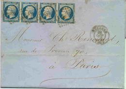 Lettre Avec Bande De 4 Du N°14 Empire Non Dentelé (1 Timbre Filet Coupé) - 1849-1876: Période Classique
