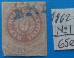 ARGENTINA-1862  -Republique -Cat Yv, Nr1=40e -used - 1858-1861 Confederazione