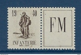 Timbre FM Infanterie 1940 Neuf** Complet - Franchise Stamps