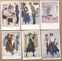 6 CP Die Frau Im Beruf Von Heilemann Et Wennerberg Verlag Des Lustigen Blätter  Femmes Au Travail Années 20-30 Illustrée - Allemagne