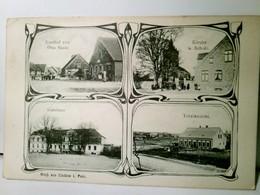 Lindow In  Pommern. Alte, Seltene Mehrbild AK S/w. Gel. 1913. Gasthof Von Otto Sasse, Kirche Und Schule, Gutsh - Allemagne