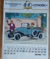 Calendrier TINTIN 1985 Pub 60 An Citroen - Objets Publicitaires