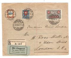 PR6558/ Switzerland Registered Air Mail Cover Zurich 1923 To GB London Arrival Cancellation - Luftpost