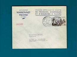 Db Cachet De Soings En Solgne Loir Et Cher Sur Enve André Marionnet à Soings En Sologne Loir Et Cher - Marcophilie (Lettres)