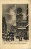 Gravure Eglise St Sulpice ,rue Du Vieux Colombier  RV - District 06