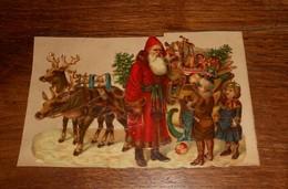 Découpis  XIXe. Le Père Noël Avec Son Traîneau Rempli De Jouets Tiré Par Des Rennes Et Deux Enfants. - Motif 'Noel'