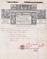 """Fattura Comm. Con Marca Da Bollo  -  London ,  Porcellane, Tappeti E Vetri  """" John Mortlock  &  C°. """" - Royaume-Uni"""