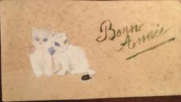 Cp, Illustrateur (inconnu, Peinture Faite Maison?), Bonne Année, 2 Chats, Non Voyagée, Format 11,5 X 6,4 - Año Nuevo
