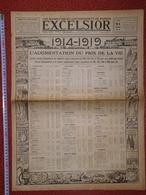 Journal EXCELSIOR 21 Avril 1919 L'augmentation Des Prix De 1914 à 1919 Boucherie Chemin De Fer Postes Tramways Autobus - 1914-18