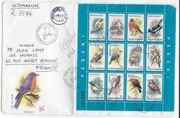 ROUMANIE - 1991/1992 - BLOC OISEAUX / BIRDS Sur ENVELOPPE FDC EXPEDIEE En RECOMMANDE (VOIR DOS) => FRANCE - Covers & Documents