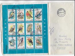 ROUMANIE - 1992 - BLOC OISEAUX / BIRDS Sur ENVELOPPE RECOMMANDE (VOIR DOS)de BAIA MARE => FRANCE - Covers & Documents