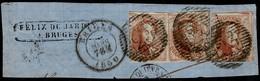 3x OBP Nr. 8 Koning Leopold I 40c Gestempeld Op Brieffragment Met P23 Brugge 1860 - Alle 3 Links Geraakt - 1851-1857 Medaillen (6/8)