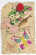 Carte Celluloïd Avec Collages ( Poisson, Papillon, Nœud, Fleurs ) De Différents Matériaux - 1er Avril - Poisson D'avril