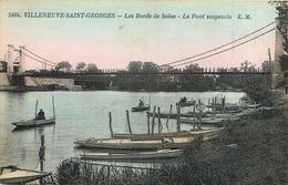 94 VILLENEUVE SAINT GEORGES - Les Bords De Seine - Le Pont Suspendu - Villeneuve Saint Georges