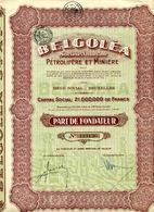 BELGOLÉA - Pétrolifère Et Minière (Rumania) - Hist. Wertpapiere - Nonvaleurs