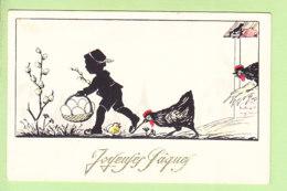 SILHOUETTE - Enfant , Poule Et Poussin - Ramasser Les Oeufs Pour De Joyeuses Pâques  - 2 Scans - Silhouette - Scissor-type