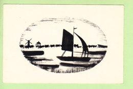 SILHOUETTE - Paysage Avec Barque Sur Lac Et Moulin à Vent  - 2 Scans - Silhouette - Scissor-type