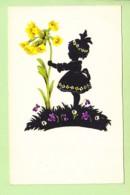 SILHOUETTE - Jolie Petite Fille Avec Fleurs Du Printemps : Coucou , Violette , Pâquerette - 2 Scans - Silhouette - Scissor-type