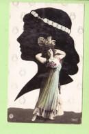 SILHOUETTE - Actrice à Identifier Et Son Portrait En Noir Et Blanc- Style Art Nouveau , Art Déco - 2 Scans - Silhouette - Scissor-type