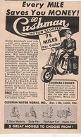 "Original-Printwerbung / 1948 / ""Cushman Motor-Scooter"" Ex Zeitschrift LIFE, 6x10 Cm (BE68) - Advertising"