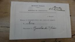 """Griffe """"Ministre De L'agriculture"""" Pour Les Eaux & Forets A Aix En 1932 - 1921-1960: Période Moderne"""