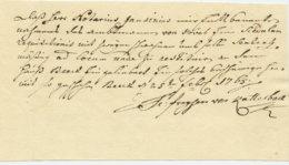1765 Botenquittung Für Amtmann Hövel In Sachen Rechtsstreit Katterbach/Beeck - Historical Documents
