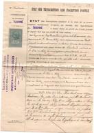 Timbre De Dimension 1F Et 2/10 - YT N°53 Sur Etat Des Hypothèques De Paimboeuf - Notaire Saint-Père En Retz - Fiscaux