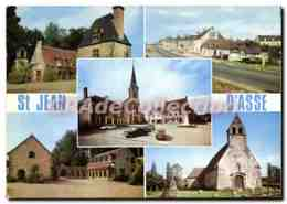 CPSM Saint Jean D'Asse Sarthe Place De L'Eglise La Mairie Et Le Monument Aux Morts Le Chateau Le Car - Le Mans