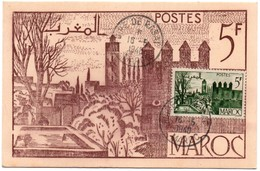 Foire De Rabat 1948 - Carte-maximum - Salon De La Philatélie Au Maroc - Maroc (1891-1956)