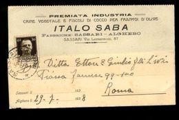 C3464 SASSARI - ITALO SABA FABBRICHE SASSARI ALGHERO CRINE VEGETALE E FISCOLI DI COCCO PER FRANTOI D'OLIVE VG 1938 - Sassari