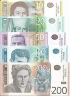 Serbia 10 - 20 - 50 - 100 And 200 Dinara 2013/14. UNC Set - Serbia