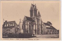 51 DORMANS église Et Monument Aux Morts ,enseigne Publicitaire Antar - Dormans
