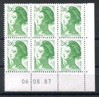 RC 16719 FRANCE N° 2484 COIN DATÉ LIBERTÉ DE GANDON 06.08.87 NEUF ** TB MNH VF - 1980-1989