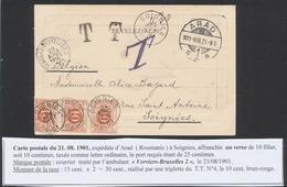 CP Vue (Roumanie, Arad 1921) 10 Filler > Soignies, Taxé Comme Lettre Ordinaire Par TX4 En Bande De 3 + Obl Ambulant - Taxes