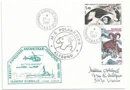 YT 109 Manchot Empereur - YT PA 86 Mouflons - Posté à Bord Du Polarbjorn - Dumont D'Urville - Terre Adélie - 14/01/1987 - Lettres & Documents