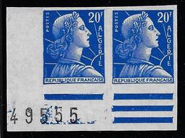 ALGÉRIE / ALGERIA 1957 - YT349a** - Marianne De Muller - Paire Non Dentelée - Cdf - 1955- Marianne Of Muller