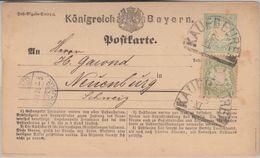 Bayern - 2 Kr. Ganzsache+Zusatz I.d. SCHWEIZ HKS Kaufbeuren - Neuenburg 1874 - Bavaria