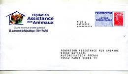 Pap Reponse Beaujard Fondation Assistance Animaux Theme Chien Chat - Postal Stamped Stationery