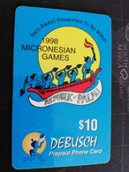PALAU $10,- Prepaid Card Fine Used R Palau 2 1998 MICRONESIAN GAMES  THICK CARD     ** 1959** - Palau
