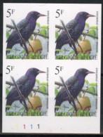 België 2638 ON - Vogels - Oiseaux - André Buzin - In Blok Van 4 - ZELDZAAM Met Plaatnummer - TRES RARE - Belgien