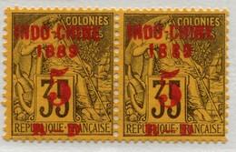 !!! PRIX FIXE : INDOCHINE, PAIRE N°1/1a LES 2 TAILLES DU MILLESIME 1889 SE TENANT NEUVE (*) SIGNEE CHAMPION - Ungebraucht