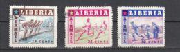Libéria YT PA 86/8 Obl : Base-ball , Natation , Course à Pied - 1955 - Liberia