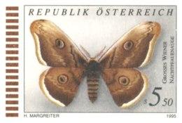 5250  Saturnia: Entier (c.p.) D'Autriche -  Emperor Moth Stationery Postcard From Austria, 1995. Butterfly Papillon - Papillons