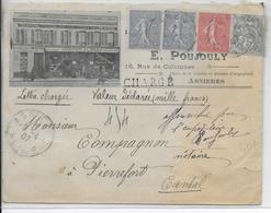 1907 - ENVELOPPE PUB ILLUSTREE (CAFE / TABAC / VINS) CHARGEE De ASNIERES => PIERREFORT (CANTAL) - BLANC / SEMEUSE - Lettres & Documents
