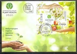 SERBIA 2020 ,International Year Of Plants Health, Flora, Fauna, Fruits Apple, Flowers, Tree, Honeybee, Block, FDC - Serbia