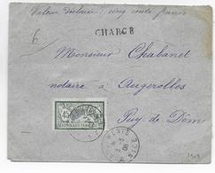 1908 - MERSON SEUL Sur LETTRE - ENVELOPPE CHARGEE De NICE (ALPES MARITIMES) => AUGEROLLES - - Lettres & Documents